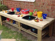 42 Modern And Easy Backyard Playground Ideas For Kids - Modern Kids Outdoor Play, Outdoor Play Spaces, Outdoor Learning, Backyard For Kids, Outdoor Toys, Patio Chico, Kids Yard, Mud Kitchen, Backyard Playground