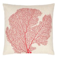 Coastal-chic coral motif pillow  ==
