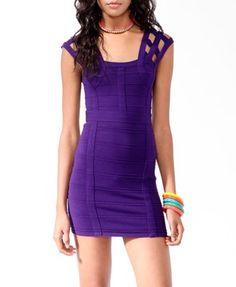 Purple Caged Sleeve Bandage Dress