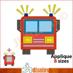 FIRE Truck Machine embroidery design  INSTANT by JLdizains on Etsy