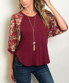 Look at this #zulilyfind! Burgundy Floral-Sleeve Top by Shop the Trends #zulilyfinds