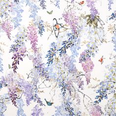 A fabulous, trailing wisteria blossom design featuring beautiful butterflies and birds darting between the branches. Wisteria Falls 226286 Amethyst by Sanderson Fabric