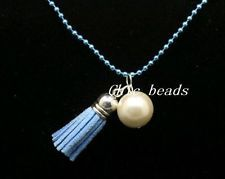 Lady's charm jewelry popular beads chain big pearl light blue Tassel necklace