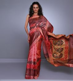 Peach & Pink Tussar & Ghicha Silk Saree with Block Print