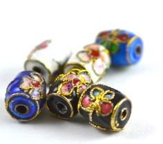 10mmx10mm Floral Gold Trimmed Cloisonné Bead,Beading,DIY,Jewelry Projects,fashion beads by BeadsFindingDepot on Etsy