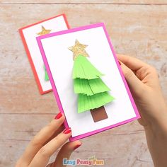 for Christmas Tree Card This Christmas card idea gives your young ones a great scissor skill practice, and it's also appropriate for older kids t. Christmas Card Crafts, Christmas Tree Cards, Christmas Activities, Kids Christmas, Christmas Family Feud, Theme Noel, Halloween Crafts, Paper Crafts, 3d Paper