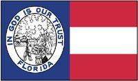 """1861 pattern Florida state flag  Early in 1861, the Florida legislature passed an act directing Governor Madison S. Perry to adopt """"an appropriate device for a State flag which shall be distinctive in character."""" On September 13, 1861, the governor reported that the new state flag had been deposited in his office, and the secretary of state recorded a description of Florida's first official state flag. Whether the flag was ever raised over the capitol or on the battlefield is unknown."""