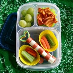 Hot Dogs and Mozzarella •Celery and Carrots •Sweet Potato Chips •Grapes