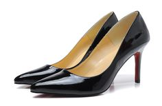 Christian Louboutin Pigalle 80mm Patent Leather Pointed Toe Pumps Black