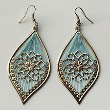 Silver tone light leaf shape dangling fish hook earrings with blue thr... Lot 84