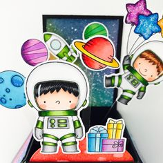 Hi there, today I'm sharing a box card I made with the adorable Space Explorers stamp set from MFT Stamps.         I stamped and colored t...