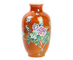 Vaso in porcellana arancione - 33x16 cm