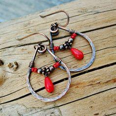 Hammered Copper Teardrop Hoops wire wrapped dangle earrings by BearRunOriginals on Etsy.