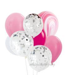 Pink & Silver Confetti Agate balloon set
