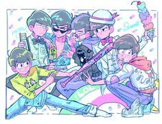 Osomatsu-san- Osomatsu, Karamatsu, Choromatsu, Ichimatsu, Jyushimatsu, and Todomatsu #Anime「♡」Pastel