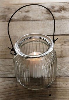 Ribbed Glass Hanging Candle Holder 4in- possible with candles or flowers hanging from cedar arbor
