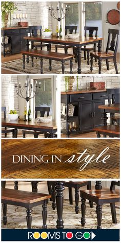 For a room with warmth and charm consider the Hillside Cottage collection. Crafted with wood solids in a black-rub through finish featuring an oak finished top and turned legs. Matching side chairs have contoured wood seats and decorative splat backs. Shop this dining room set and more now!