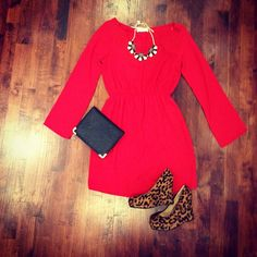 ahhh i love this....what kind of solid color dresses do i have.....or i could do that brown and white polka dot dress with the black blazer and red flats?? and a statement necklace with a black belt