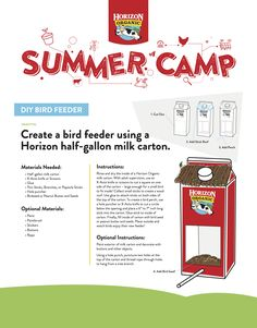 Diy Bird Feeder, Roofing Materials, Diy Camping, Milk, Summer, Summer Time
