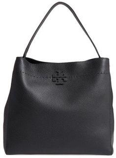 Tory Burch Mcgraw Leather Hobo - Black