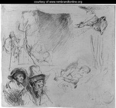 A Sheet of Studies, with a Woman Lying ill in Bed, etc.