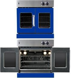 American Range french door wall oven utilizes dual convection motors to provide superior baking performance and ensures consistent heat distribution. This American oven has dual dependent doors which open full 130° with the pull of one door, giving you a convenient access to 4.7 cu.ft. oven cavity. Cooking features include convection baking, dehydrating and defrosting, standard baking and broiling. On par with commercial ovens.