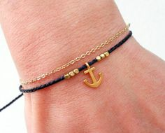 Anchor bracelet Wish bracelet Friendship bracelet by Beadstheater