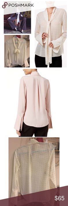 Brand new with tags Rachel Roy top Get a put-together look complete with a tie neckline from RACHEL Rachel Roy's bell sleeve top. Hits at hip. Very gorgeous top RACHEL Rachel Roy Tops