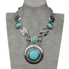 Pendant Statement Necklace Vintage Tibet Silver Plated Natural Turquoise Circle