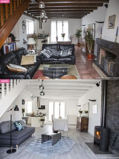 Avant-après : la transformation d'un salon en pièce lumineuse Before and after: the transformation of a living room into a Decor, Home Living Room, Home Staging, Home, Basement Decor, White Furniture, Bright Rooms, Living Room Decor, Home Deco