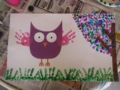 Fingerpainting Children's Project using fingerpaint, colored construction paper, and a white poster board. Let the child create a colorful tree with their little fingers along with the Owl's wings and grass!
