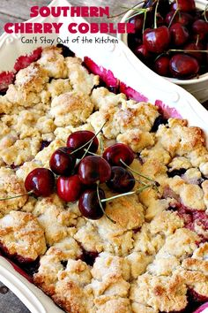 This amazing cobbler includes fresh cherries, almond extract and a delicious biscuit-type topping sprinkled with sugar before baking. It's a terrific summer dessert when fresh cherries are in season. Cherry Desserts, Cherry Recipes, Fruit Recipes, Dessert Recipes, Cooking Recipes, Nutella Recipes, Fruit Cobbler, Blueberry Cobbler, Frozen Cherries