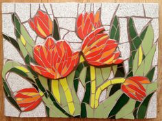 This was a mosaic tulip commission I made for a kitchen :-) Mosaic Tray, Mosaic Glass, Mosaic Tiles, Stained Glass, Mosaic Artwork, Mosaic Wall Art, Mosaic Crafts, Mosaic Projects, Mosaic Flower Pots