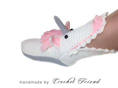 Crochet Unicorn Slippers Socks / Funny Warm Home Shoes / Adult size in 2 colors Crochet Baby Socks, Crochet Lace Scarf, Baby Boy Crochet Blanket, Crochet Leg Warmers, Crochet Baby Cocoon, Crochet Headband Pattern, Crochet Shoes, Crochet Slippers, Crochet Dolls Free Patterns