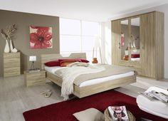 Chambre adulte contemporaine chêne clair/blanc Galva | Furniture ...