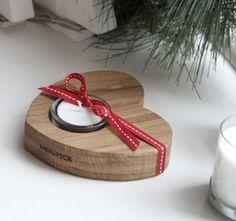 wooden heart tea light