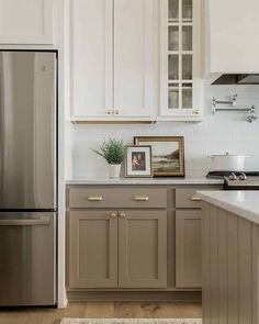 Home Decoration Ideas For Diwali .Home Decoration Ideas For Diwali Taupe Kitchen Cabinets, Kitchen Cabinet Colors, Painting Kitchen Cabinets, Kitchen Redo, Home Decor Kitchen, Home Kitchens, Kitchen Remodel, Kitchen Styling, Different Color Kitchen Cabinets