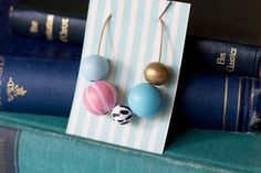 Blushing Blue: Hand painted Wooden Bead by VioletsandPoppies