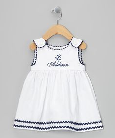 Take a look at this Princess Linens White & Navy Anchor Personalized Dress - Infant, Toddler & Girls on zulily today! Little Dresses, Little Girl Dresses, Girls Dresses, Fashion Kids, Toddler Dress, Infant Toddler, Toddler Girls, Baby Dress Patterns, Baby Sewing