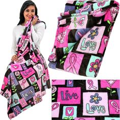 SuperCozy™ Pink Ribbon Love Blanket at The Animal Rescue Site