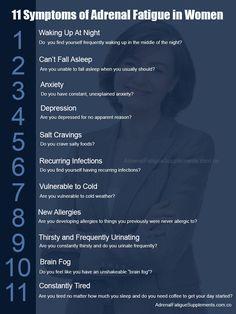 11 Symptoms of Adrenal Fatigue in Women. #infographic #adrenalfatigue