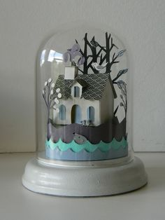 I adore these paper art pieces under glass domes by talented artist and illustrator Helen Musselwhite . Diy Paper, Paper Crafts, Origami, Diy And Crafts, Arts And Crafts, Ideias Diy, The Bell Jar, Paper Houses, Cardboard Houses