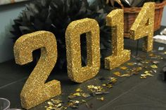 Graduation Decor Ideas: Glitter Table Numbers