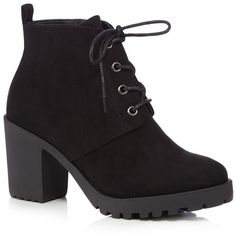 Red Herring Black lace-up block heel ankle boots ($30) ❤ liked on Polyvore featuring shoes, boots, ankle booties, heels, black lace up booties, lace up booties, black suede boots, ankle boots and black suede ankle booties