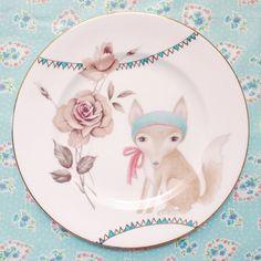 The storybook rabbit Etsy handmade Vintage Recycled Plate Illustration Fox Fantasy Floral Aqua Bunting Handmade Painted Decor