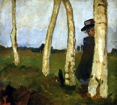 Paula Modersohn-Becker - Girl with Hat between Birch Trunks