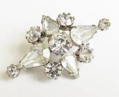 Vintage Art Deco Clear Rhinestone Brooch 40s by GrandVintageFinery, $24.95
