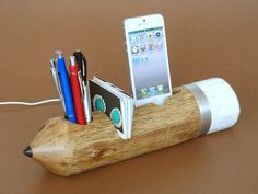 Pen Holder  iPhone Dock  Card Holder  natural rustic by valliswood