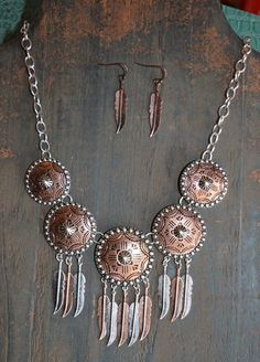 COWGIRL Bling Southwest COPPER FEATHER SILVER  CONCHO Western Gypsy NECKLACE SET #Unbranded