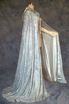 Silver Crushed Velvet Cloak Lined in Silver-Grey Satin : Artemisia Designs:, Historical and Fantasy Apparel for the Regular and Plus Size - Renaissance, Medieval, Victorian, Cloaks, and LARP